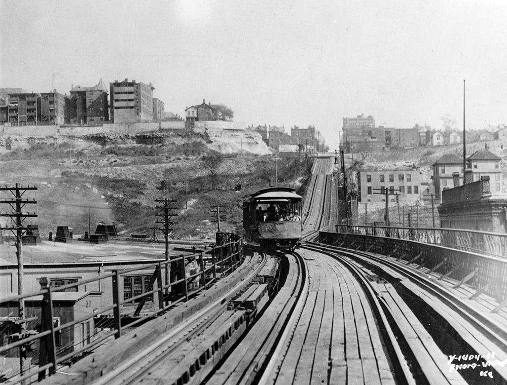 Final streetcar trip over the 12th Street Incline, 1913