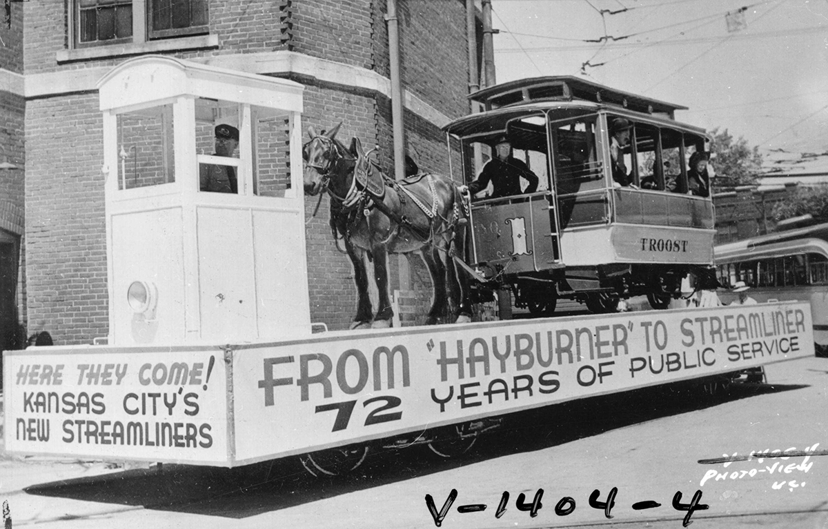 Mule-drawn, or 'hayburner,' streetcar in a parade celebrating the introduction of streamliners to Kansas City, 1941