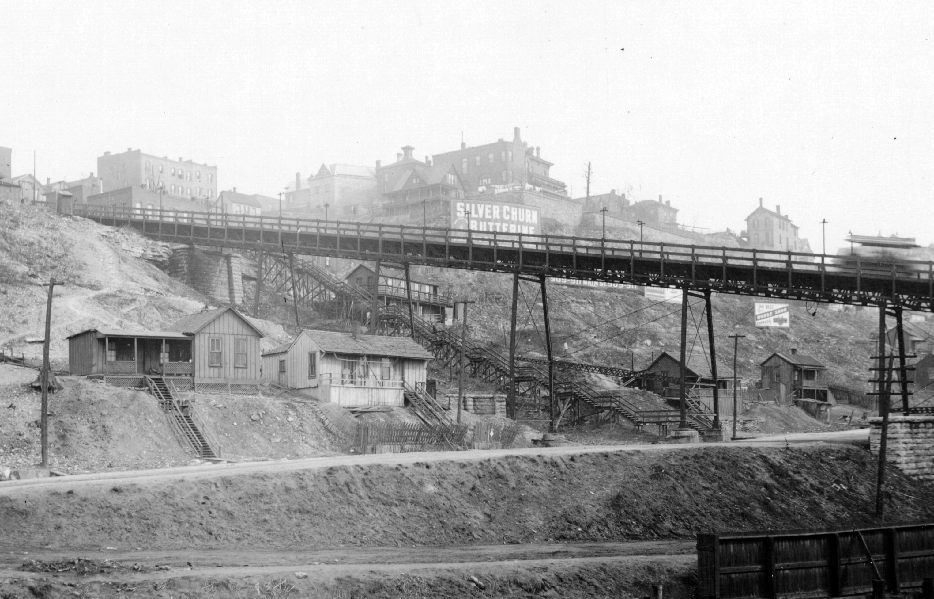 The Ninth Street Incline with staircase leading from Quality Hill down to Bluff Street, 1895
