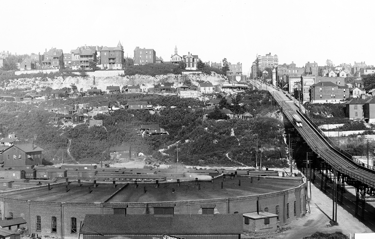 View facing east near the 12th Street Incline and showing pathways connecting the residences on the hillside down to Bluff Street, 1900
