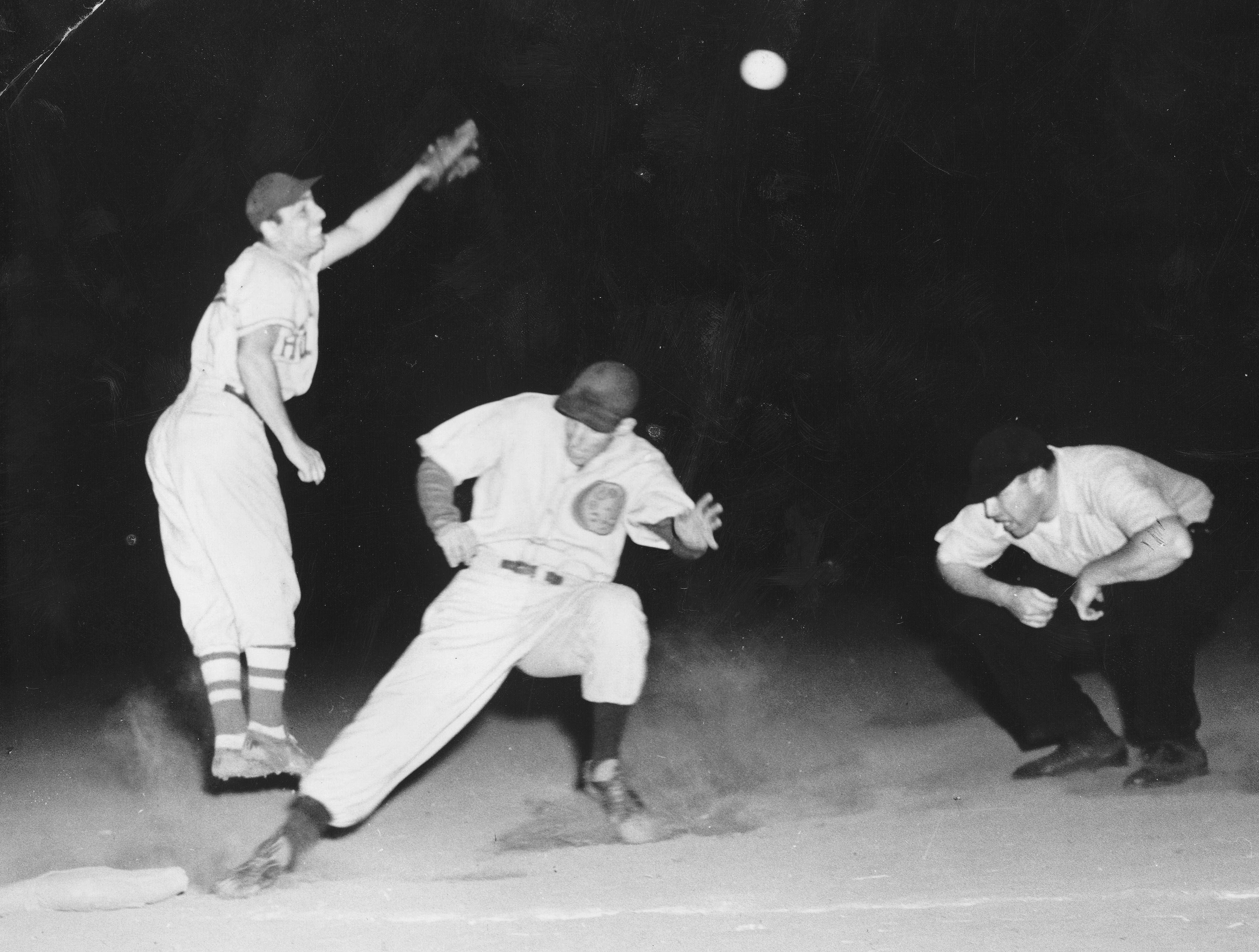 Night game at Northeast Stadium, 1946