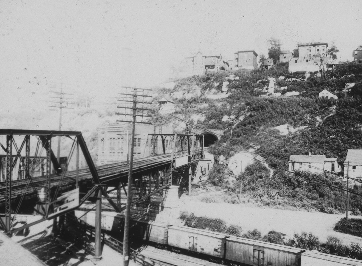 View of the West Bluffs and the entrance to the 8th Street Tunnel