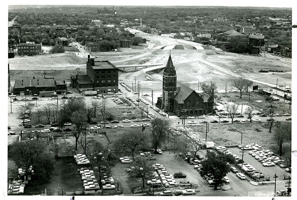 The Jackson County Historical Society helped save St. Mary's Episcopal Church during demolition for the Civic Center Project, 1960. Kansas City Public Library.