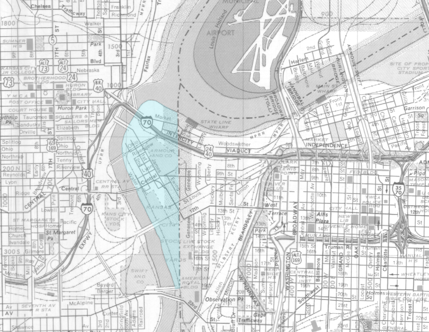 Map of the Kansas City area with the Kansas portion of the West Bottoms highlighted in blue, 1969