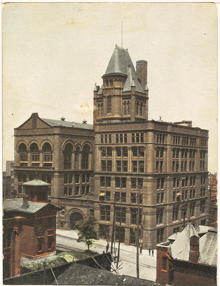 The Burnham and Root-designed, second Board of Trade Building at Eighth and Wyandotte streets before it was demolished, n.d. Kansas City Public Library
