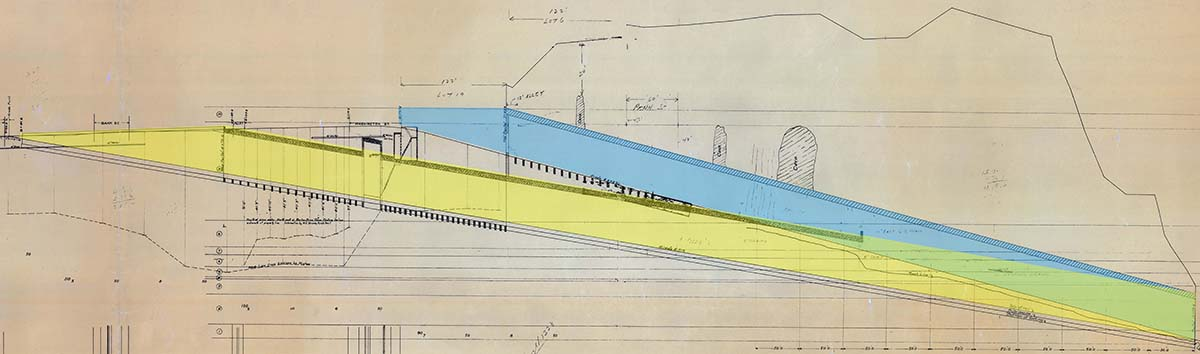 Diagram showing the Eighth Street tunnel with the original route highlighted in blue and the redesigned route in yellow, 1903