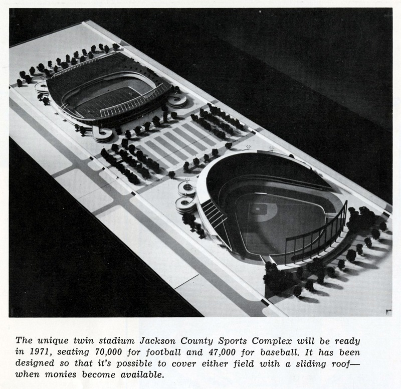 Scale model of the Sports Complex, 1969. Kansas City Public Library