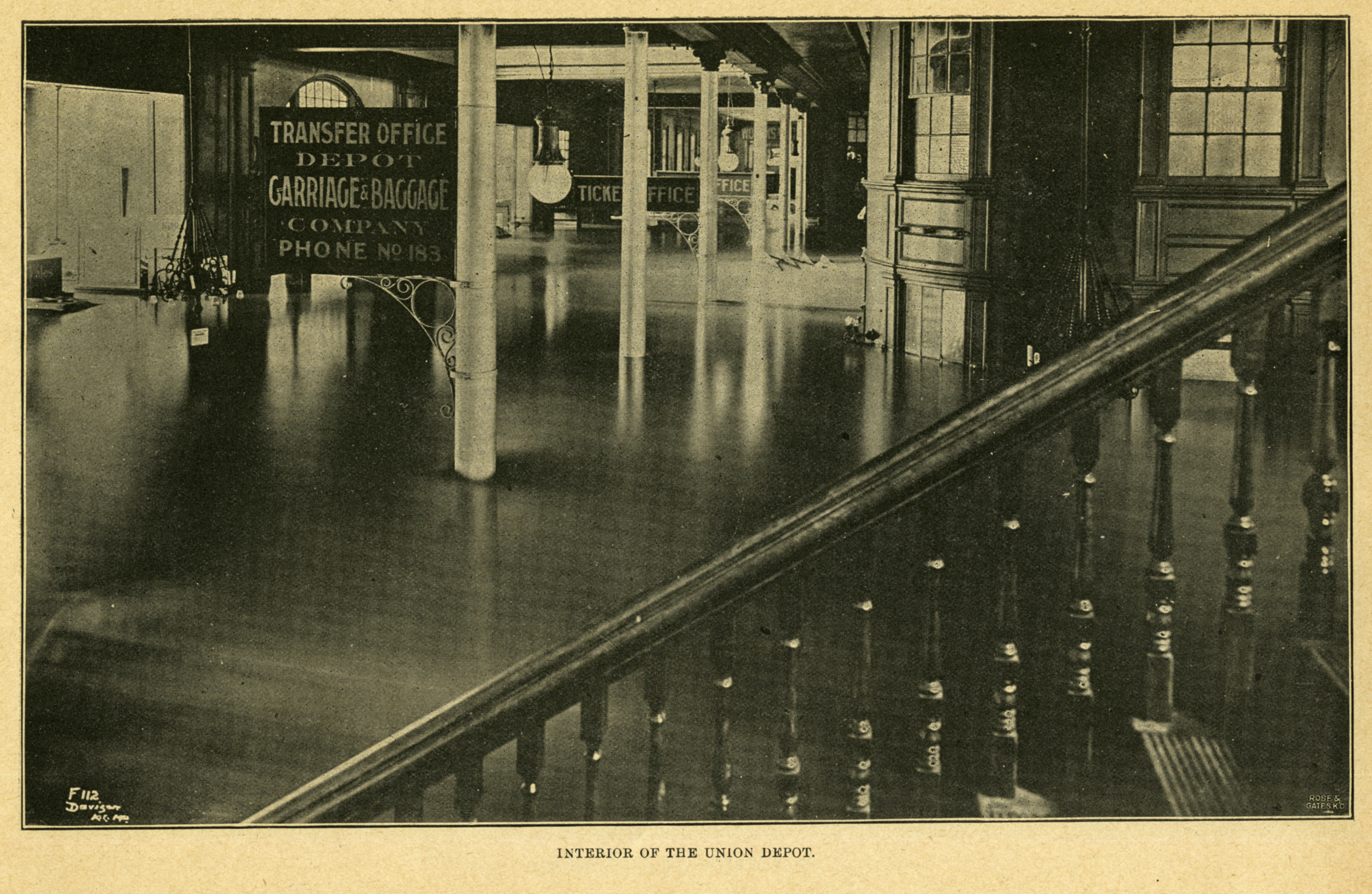 The high-water mark in the depot's waiting room reached 6 feet 7 inches