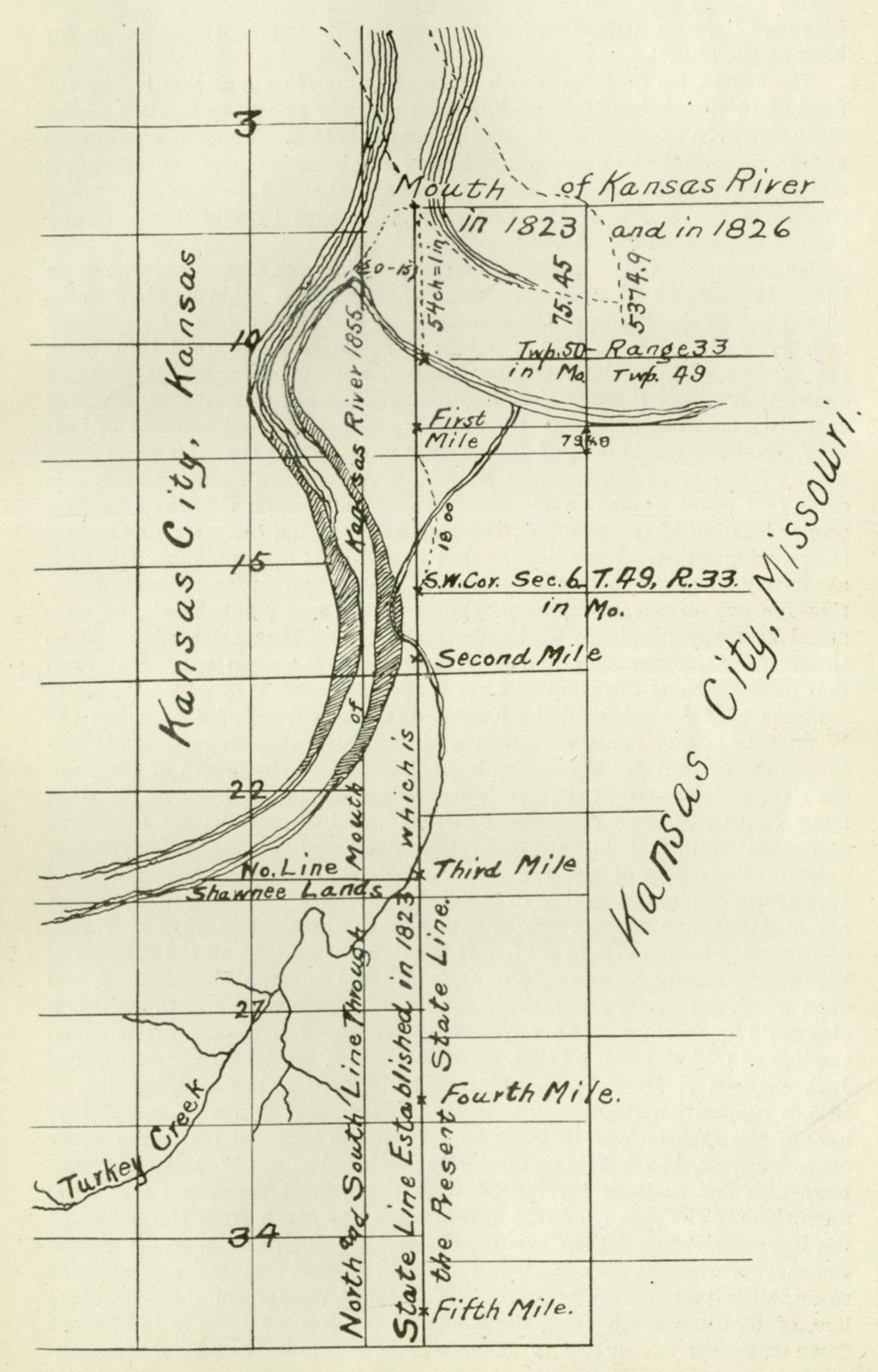 Map drawn by William E. Connelley to illustrate the differences between Brown's 1823 meridian line where it would have been placed based upon the location of the Kaw during the 1855 survey of the Kansas-Nebraska Territory, 1884.
