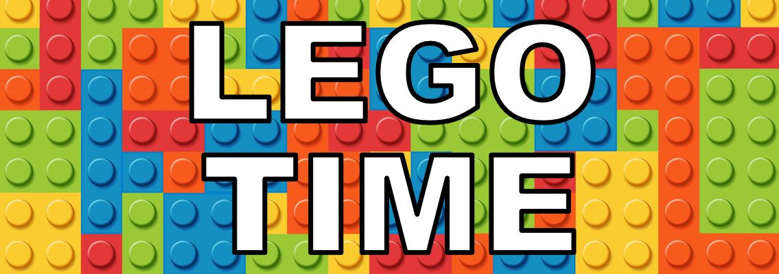 Colorful tiled LEGO background. White text says LEGO TIME