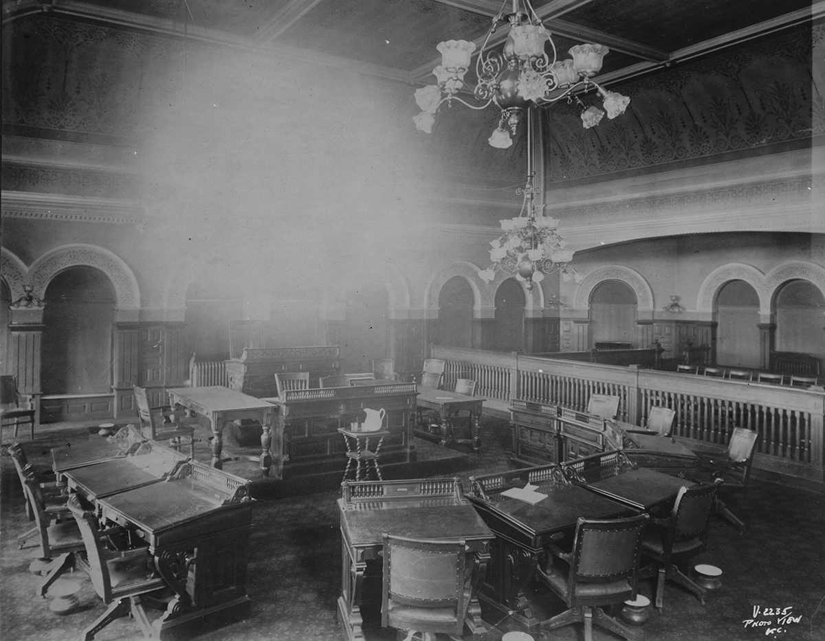 Interior view of the council chambers at the 5th and Main City Hall