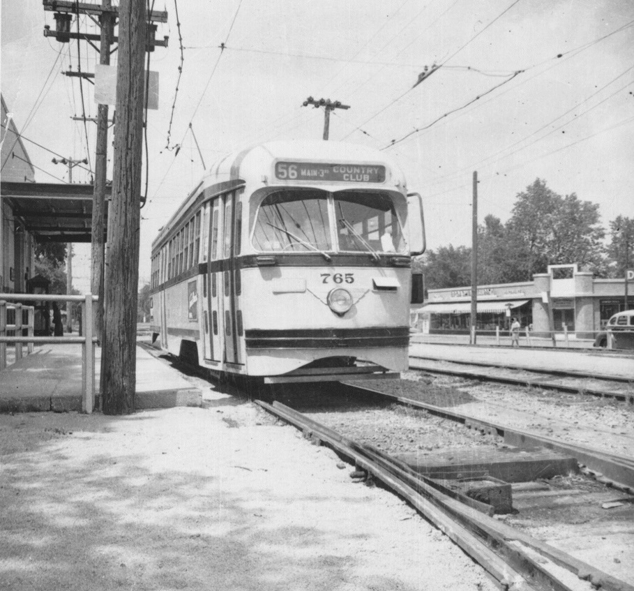 Snapshot of a streetcar on the Country Club Line near 75th Street and Wornall, 1955. From the General Photograph Collection, Kansas City Public Library.