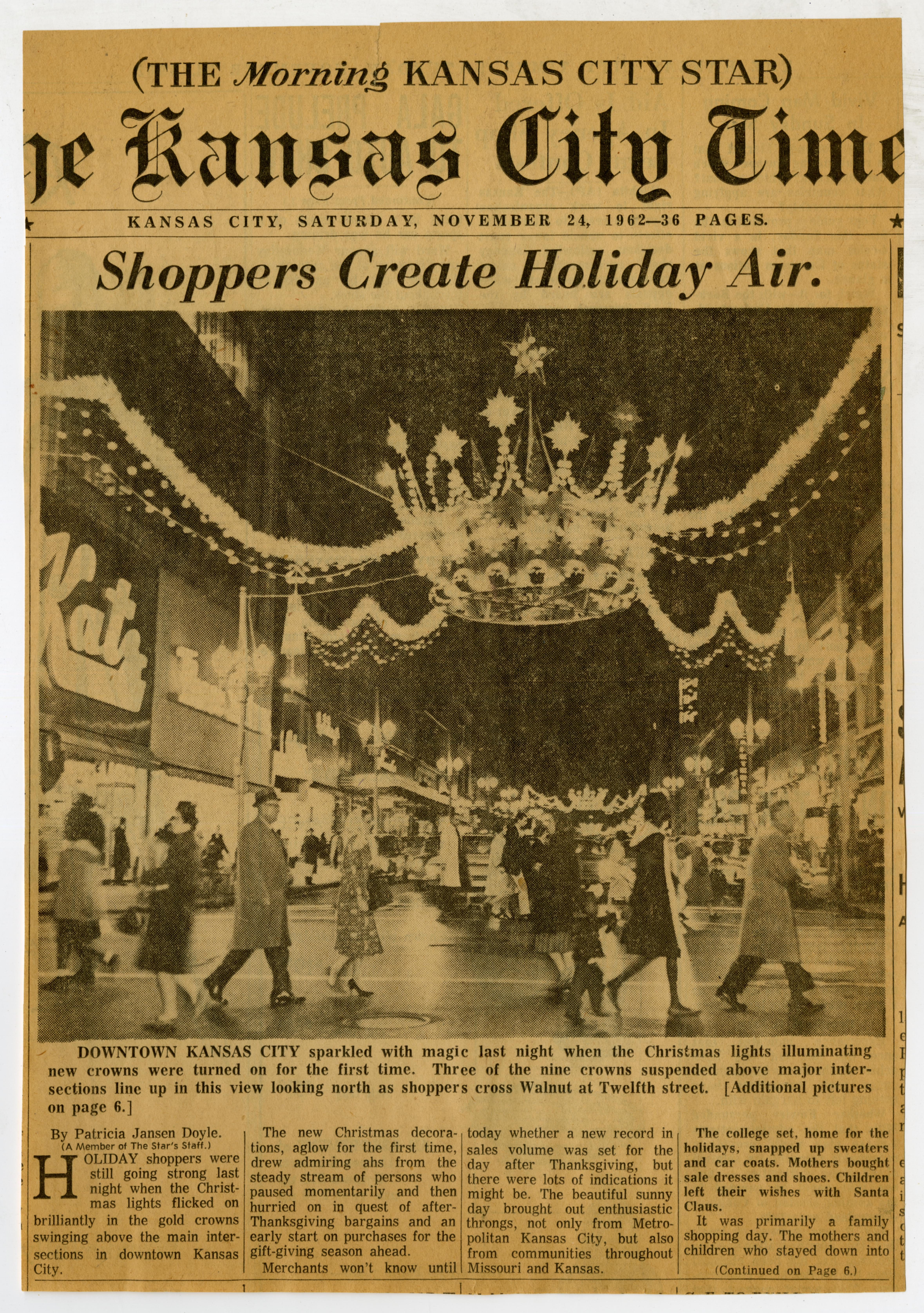 Crowns Created Holiday Air Newspaper Clipping
