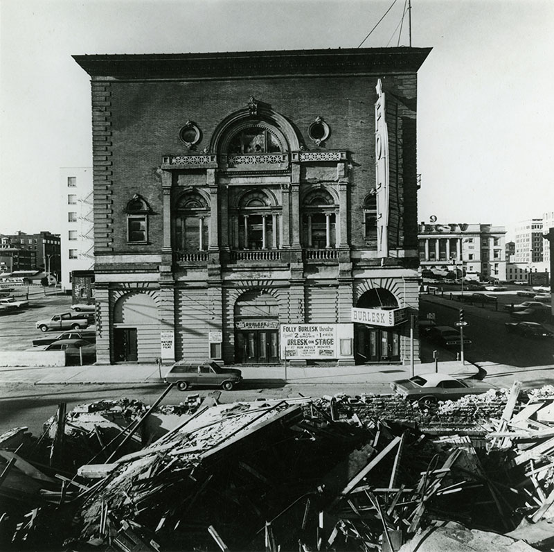 The Folly Theater near the time of its planned demolition, 1970s. Kansas City Public Library.