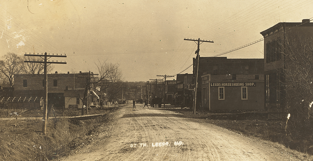 Photo postcard looking north on 37th Street in Leeds, MO., dated 1917.  Image: Mrs. Sam Ray Postcard Collection, Kansas City Public Library.