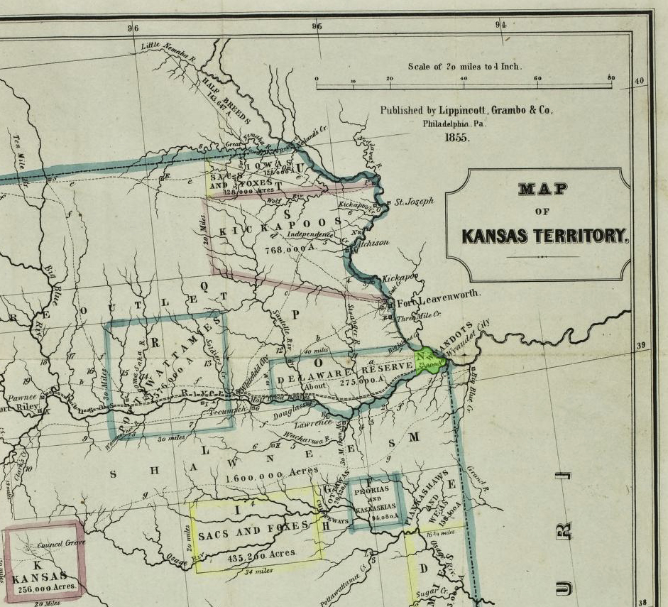 Map of eastern Kansas showing the Wyandot Purchase (highlighted in green) and Wyandot City, the Delaware on their western border and the Shawnee south of the Kansas River at that time, 1855
