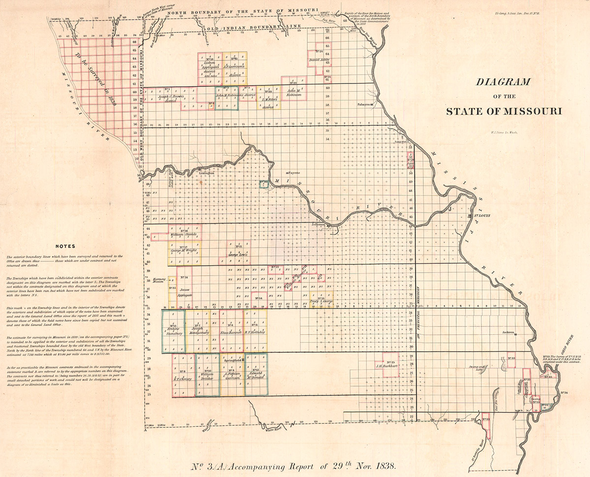 Map showing the Platte Purchase in northwest Missouri, 1838