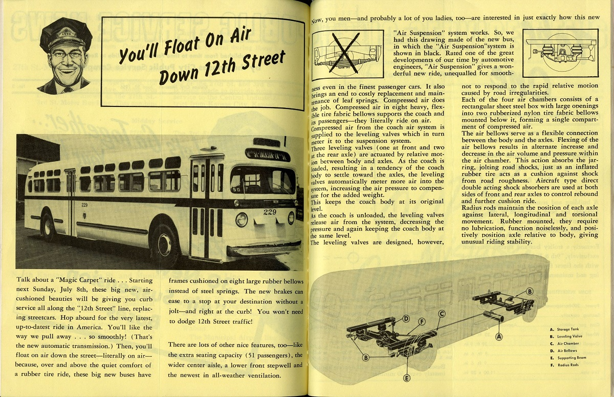 Pages from the June 30, 1956, edition of Public Service News, the newsletter printed by the Kansas City Public Service Company, describing the modern comforts of new buses. Kansas City Public Library.