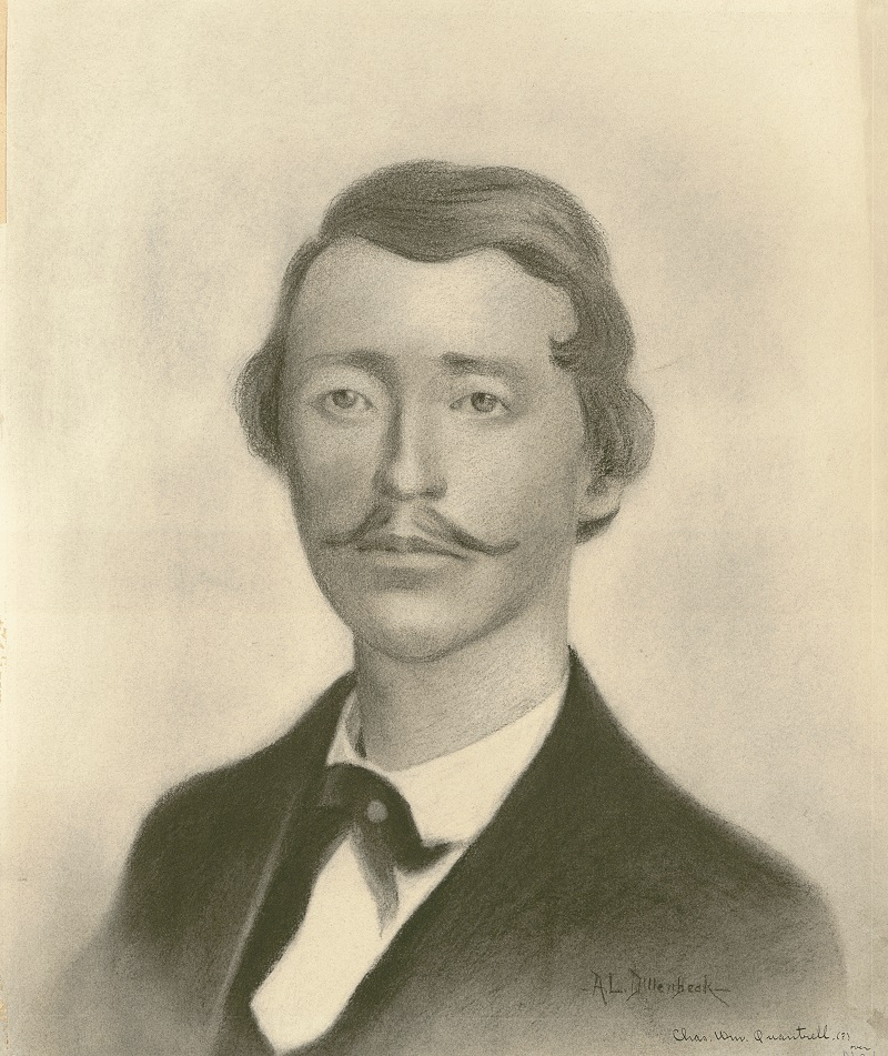 Charcoal drawing of William Clarke Quantrill by A.L. Dillenbeck. Quantrill was fatally wounded in Kentucky on May 10, 1865, during an ambush by Union forces. Kansas City Public Library