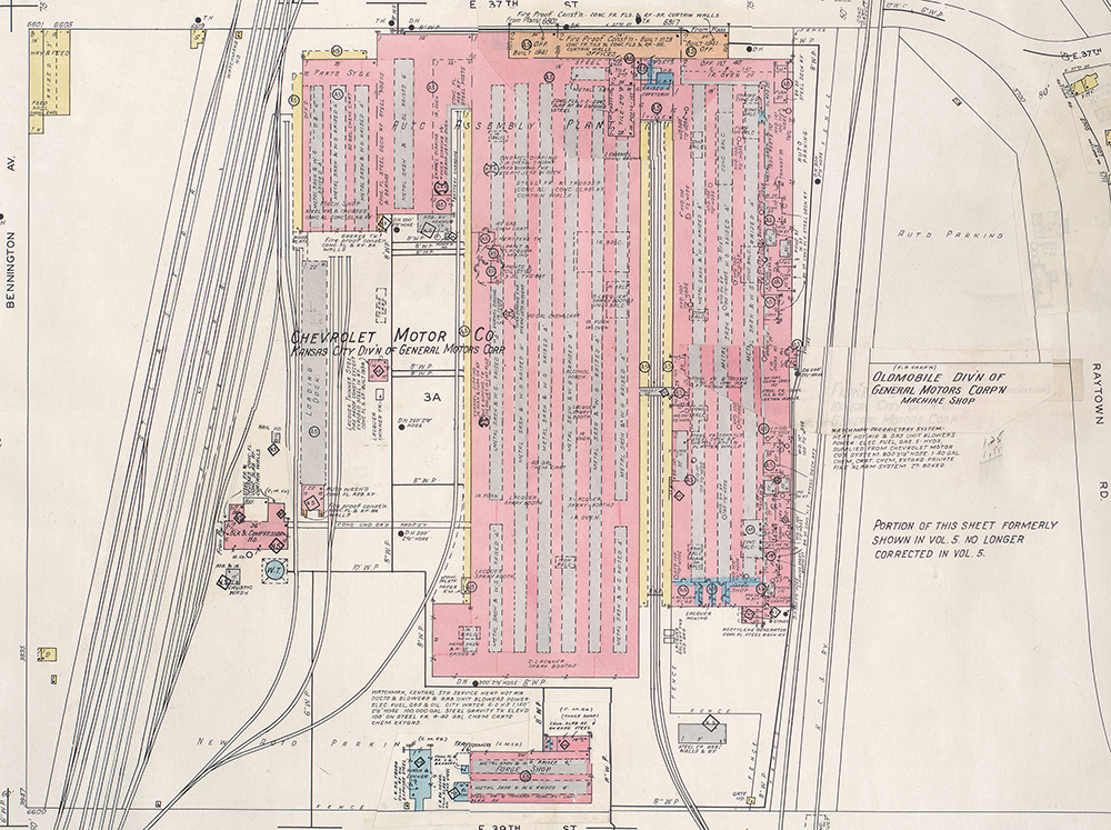 1945 Sanborn Fire Insurance Map showing the Chevrolet Motor Company assembly plant