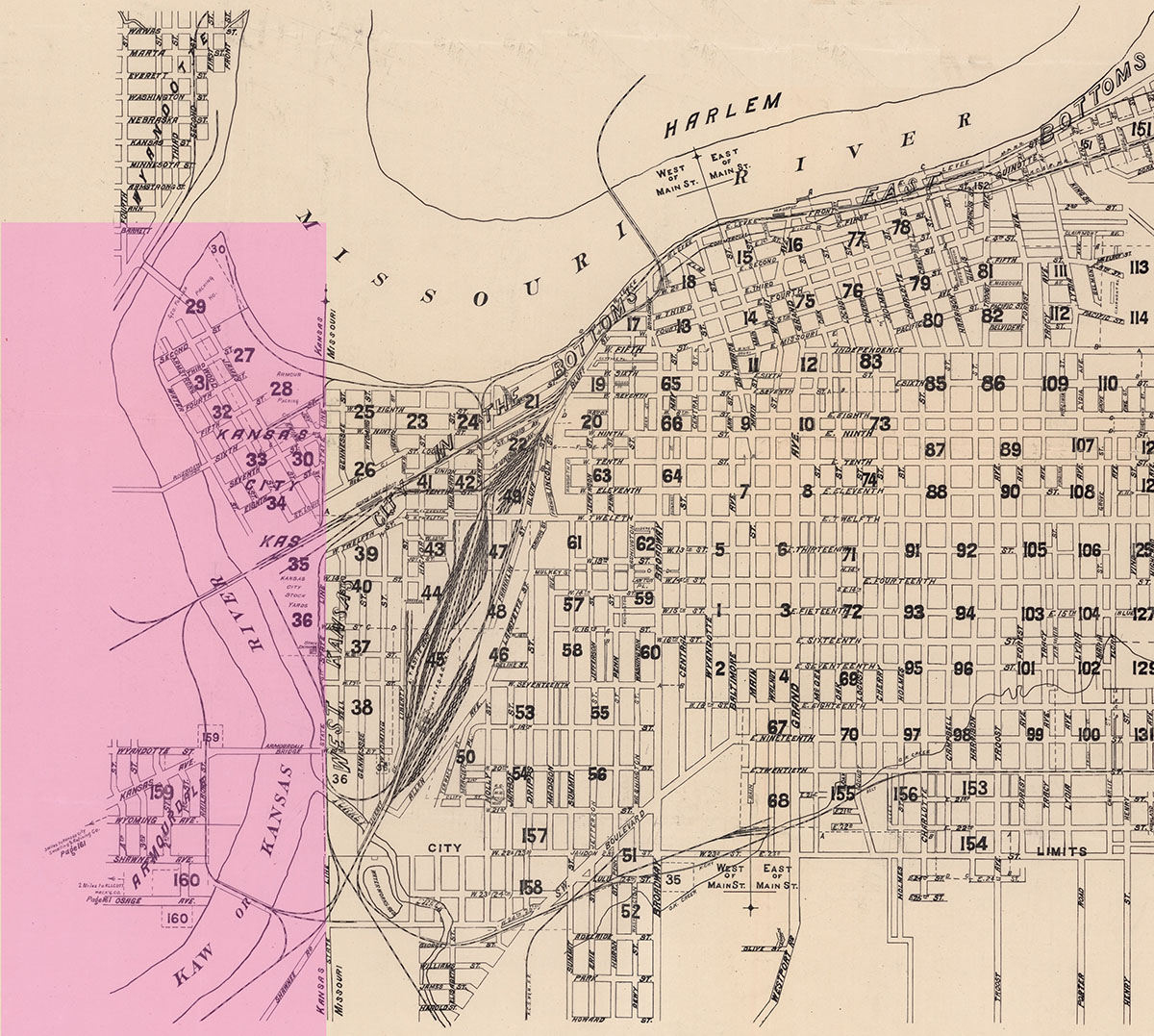 Map showing the approximate location of Silas Armstrong's Wyandot Float (highlighted in pink). The separate towns of Wyandotte, Armourdale and Kansas City in the West Bottoms can also be seen, 1886