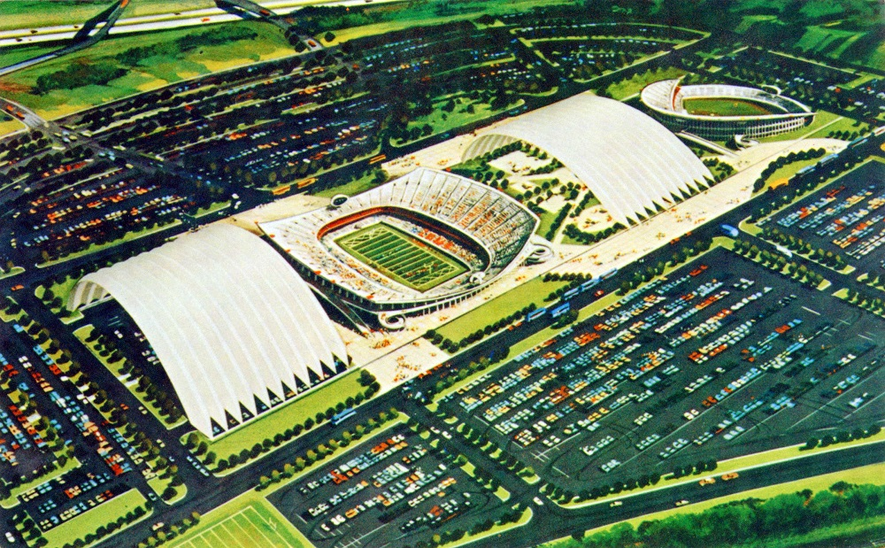 One plan for the Truman Sports Complext called for rolling roofs. This is circa 1967. Kansas City Public Library