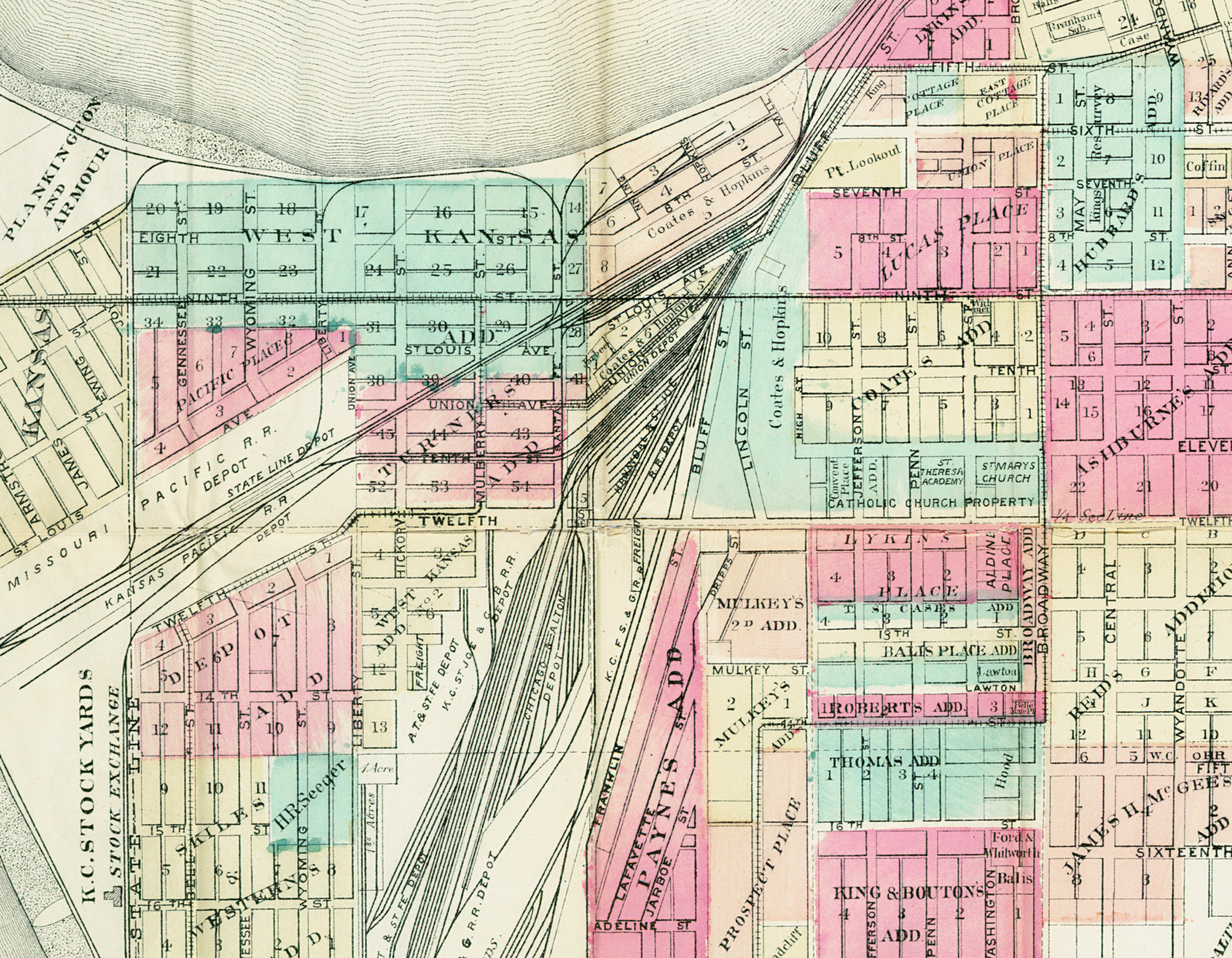 A portion of Wright's Map of Kansas City, Missouri, 1884.  Union Depot is between the rail lines in the West Bottoms.  From SC117 Map Collection, Missouri Valley Special Collections.