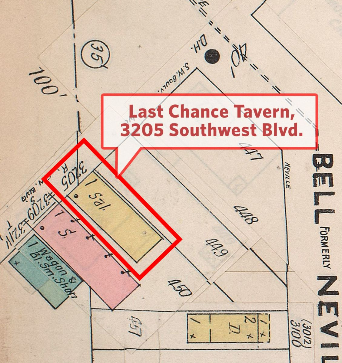Inset view of 3205 Southwest Blvd., home of the Last Chance Tavern. Missouri Valley Special Collections, Kansas City Public Library.