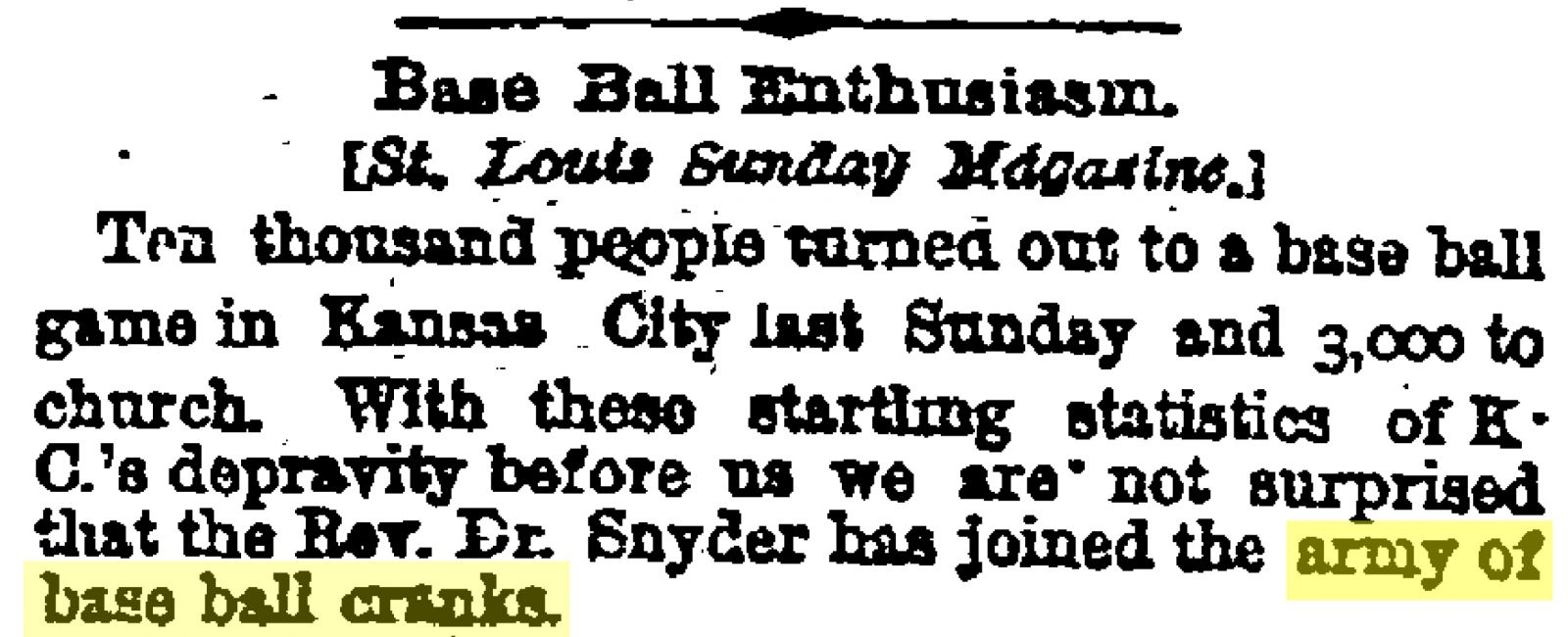 Image from St. Louis Sunday Magazine article, published in the April 21, 1885, Kansas City Times with the headline Base Ball Enthusiam
