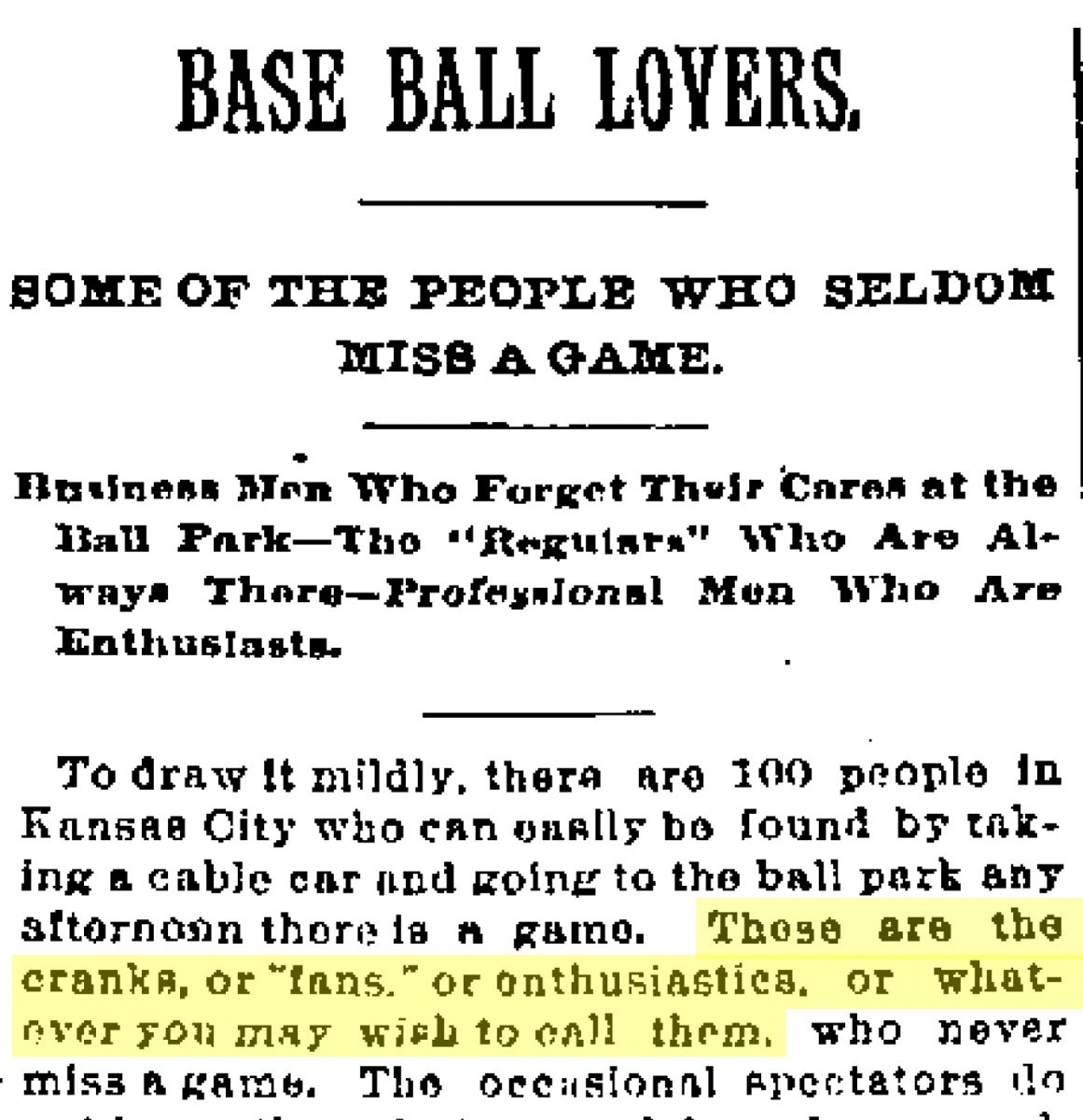 Image of Kansas City Times article, May 30, 1887 with the headline Base Ball Lovers.