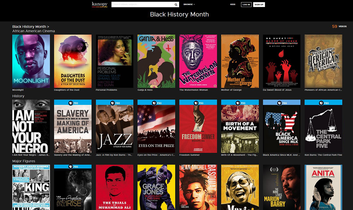 Screenshot of Kanopy Black History Month film selections
