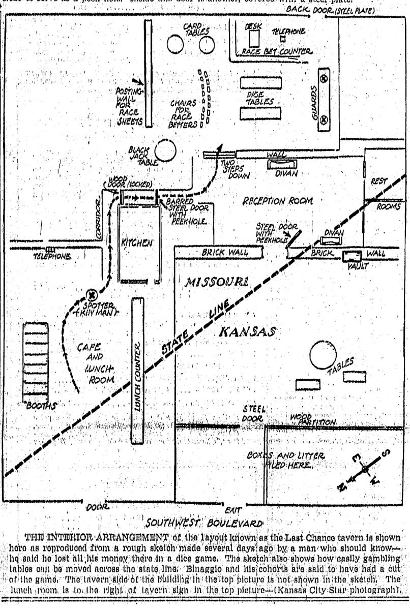 Illustrated layout of the Last Chance Tavern at 3205 Southwest Blvd. The Kansas City Times, April 7, 1950.