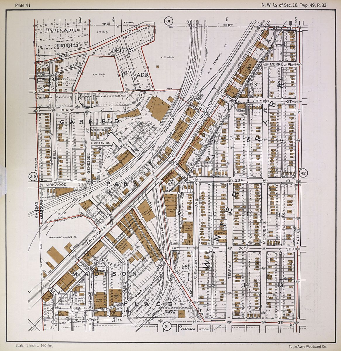 Map portion showing the area around Southwest Boulevard and the Kansas-Missouri border, 1925. Fire Insurance Maps online (FIMo).