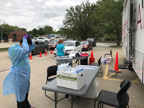 Swope Health mobile testing at Trails West Branch