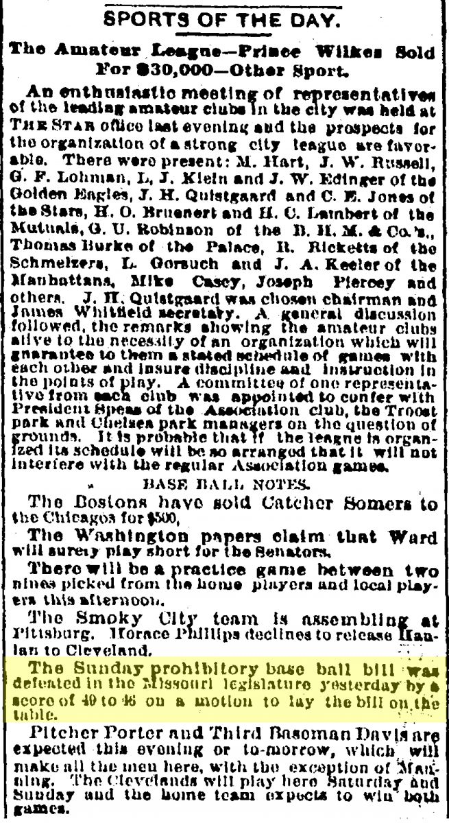 Image of Kansas City Star sports section, March 26, 1889.
