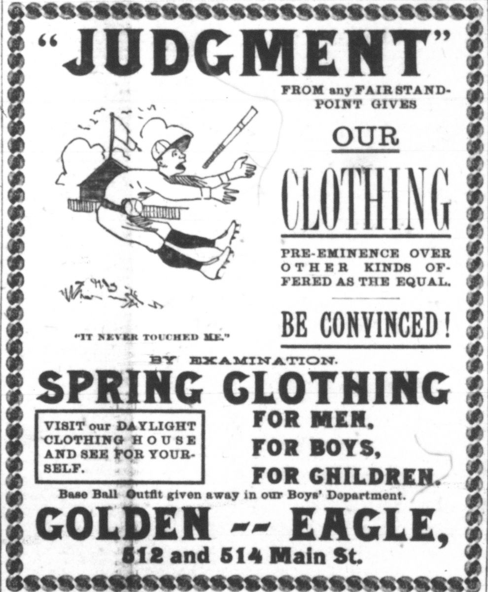 Image of Golden Eagle ad, Kansas City Times, March 27, 1889.