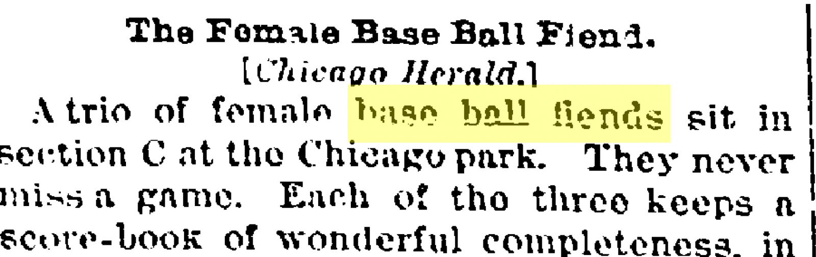 Image of Chicago Herald article published in the June 21, 1887, Kansas City Times with headline The Female Base Ball Fiend