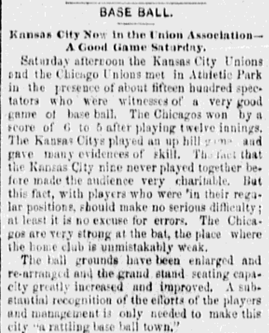 Image of Baseball articleThe Kansas City Evening Star, June 9, 1884.