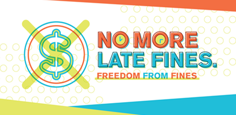 No More Library Late Fines graphic
