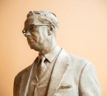 Bronze Sculpture of Ilus Davis, side view 3/4 length