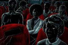 Black horror film characters sitting on red theater seats