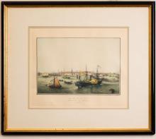 Vue de New York Arrivée du Transatlantic 1820