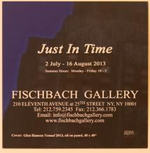 """Glen Hansen """"Just in Time"""" postcard from 2013 Fishbach Gallery Exhibit, back"""
