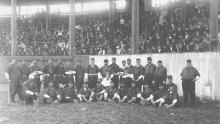 Unidentified Kansas City baseball team with dozens of fans seated in the grandstand, ca. 1880s. Photo: Missouri Valley Special Collections