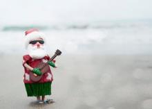 Santa playing the uke
