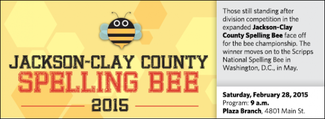 Those still standing after division competition in the expanded Jackson-Clay County Spelling Bee face off for the bee championship. The winner moves on to the Scripps National Spelling Bee in Washington, D.C., in May.