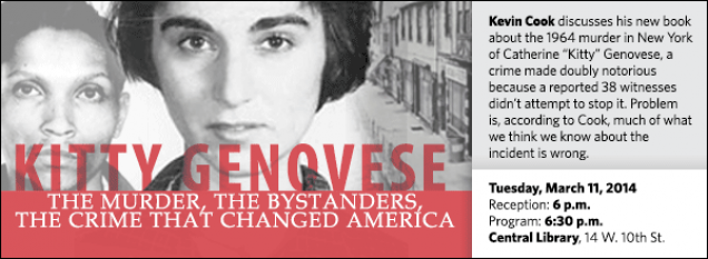 """Kevin Cook discusses his new book about the 1964 murder in New York of Catherine """"Kitty"""" Genovese, a crime made doubly notorious because a reported 38 witnesses didn't attempt to stop it. Problem is, according to Cook, much of what we think we know about the incident is wrong."""