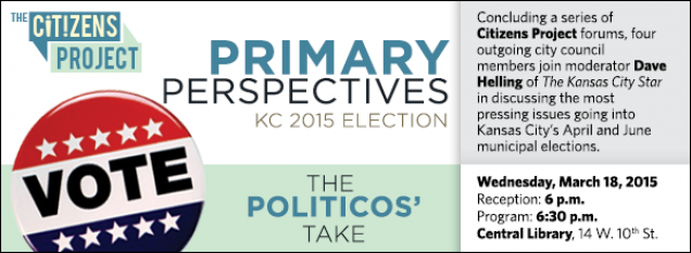 Concluding a series of Citizens Project forums, four outgoing city council members join moderator Dave Helling of The Kansas City Star in discussing the most pressing issues going into Kansas City's April and June municipal elections.