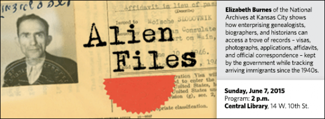 Elizabeth Burnes of the National Archives at Kansas City shows  how enterprising genealogists, biographers, and historians can access a trove of records – visas, photographs, applications, affidavits, and official correspondence – kept by the government while tracking arriving immigrants since the 1940s.