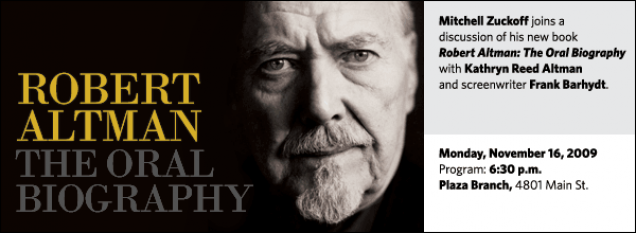 Mitchell Zuckoff joins a discussion of his new book Robert Altman: The Oral Biography with Kathryn Reed Altman and screenwriter Frank Barhydt.